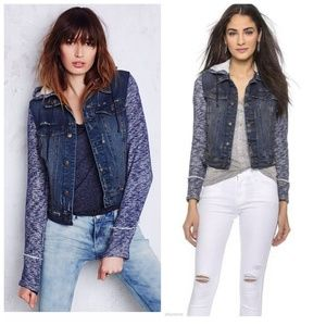 FREE PEOPLE denim jean sweater hooded jacket MED